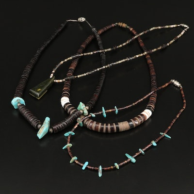 Necklaces Including Sterling, Turquoise and Heishi