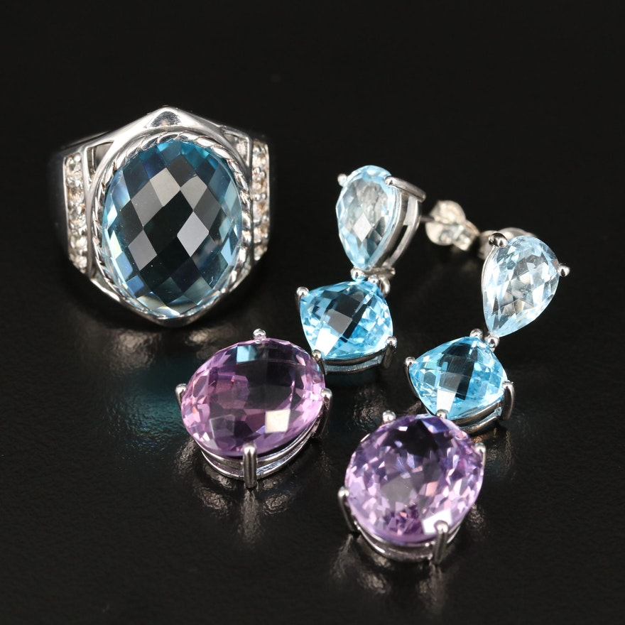 Sterling Ring and Earrings Including Amethyst and Topaz
