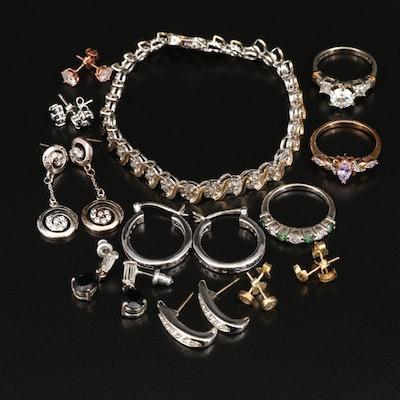 Sterling Silver Bracelet, Earrings and Rings Including Swarovski