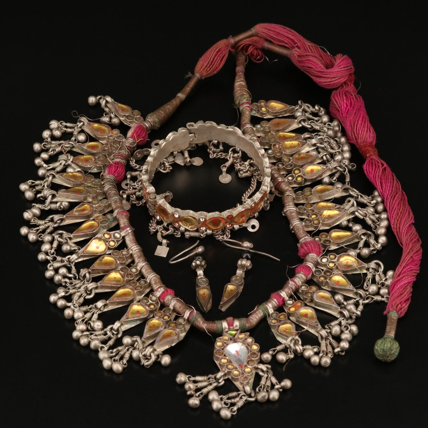 Indian Fringe Necklace with Matching Sterling Earrings and Bracelet