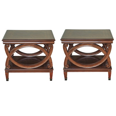 Pair of Neoclassical Style Cherry-Stained Wood Tiered Side Tables