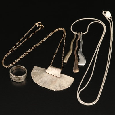 Sterling Silver Riccio Ring and Pendant Necklaces Including Silpada