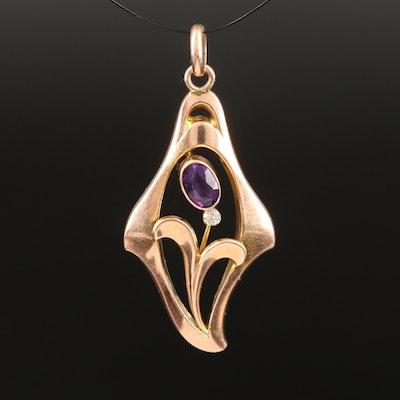 Art Nouveau Murrle Bennet & Co. 9K Amethyst and Diamond Pendant