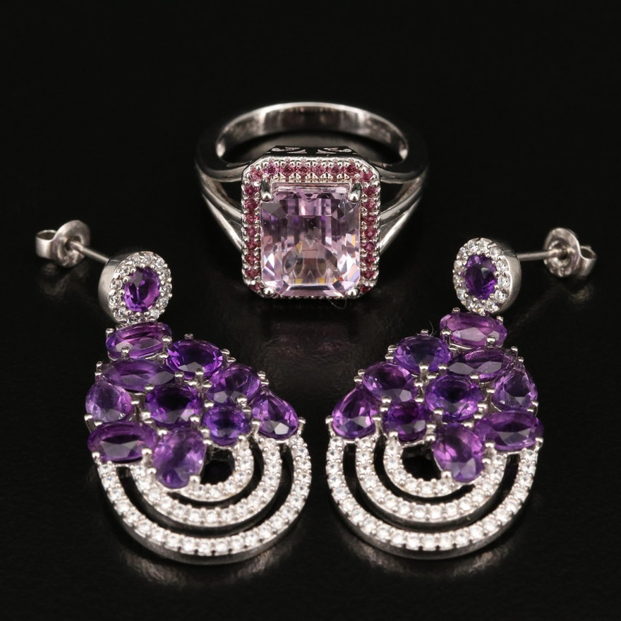 Sterling Ring and Earrings Featuring Amethyst, Kunzite and Cubic Zirconia