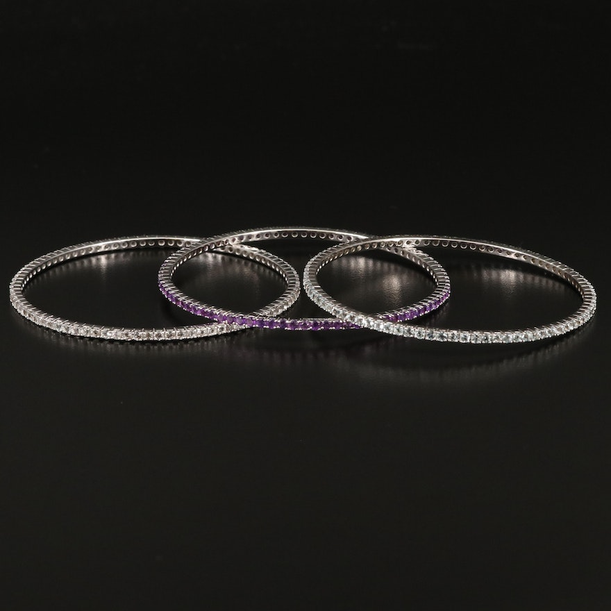 Sterling Silver Amethyst and Topaz Stackable Bangles