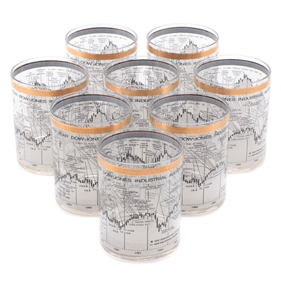 """Cera """"Dow Jones"""" Gilt Accented Double Old-Fashioned Glasses, Late 20th Century"""