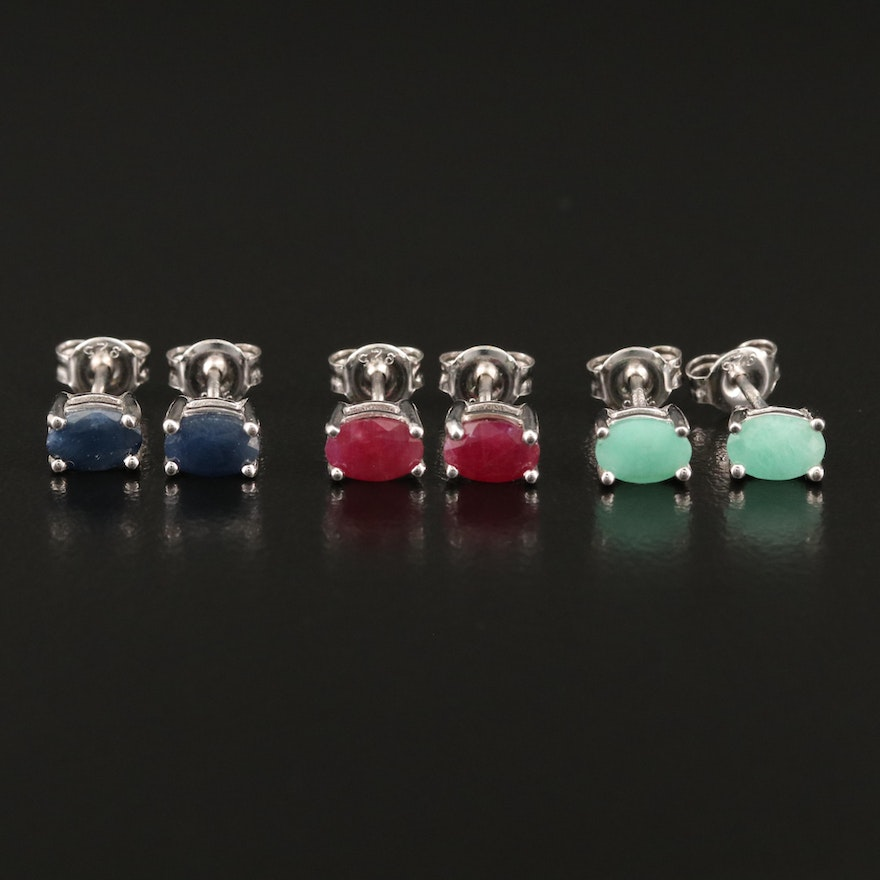 Sterling Emerald, Ruby and Sapphire Stud Earrings