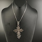 Sterling Crucifix Pendant Necklace with Foliate Detail