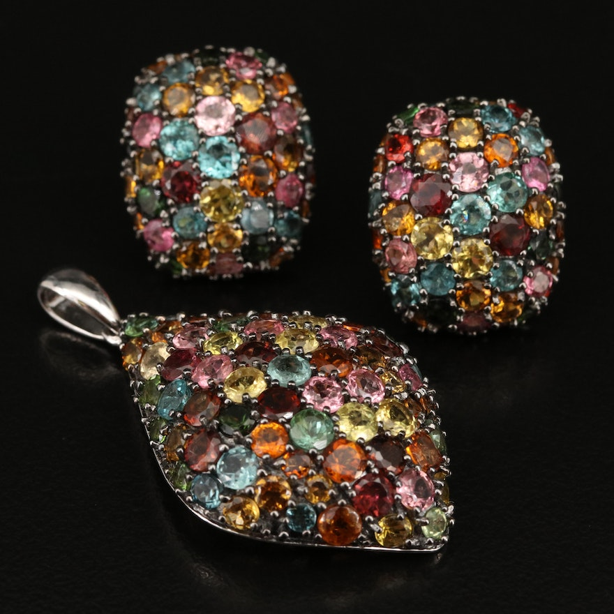 Sterling Silver Pavé Tourmaline Pendant and Earring Set