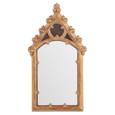Small Gothic Style Giltwood and Composition Mirror, Early 20th Century