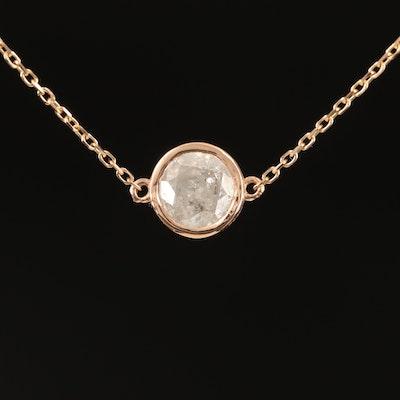 18K 0.98 CT Diamond Solitaire Necklace
