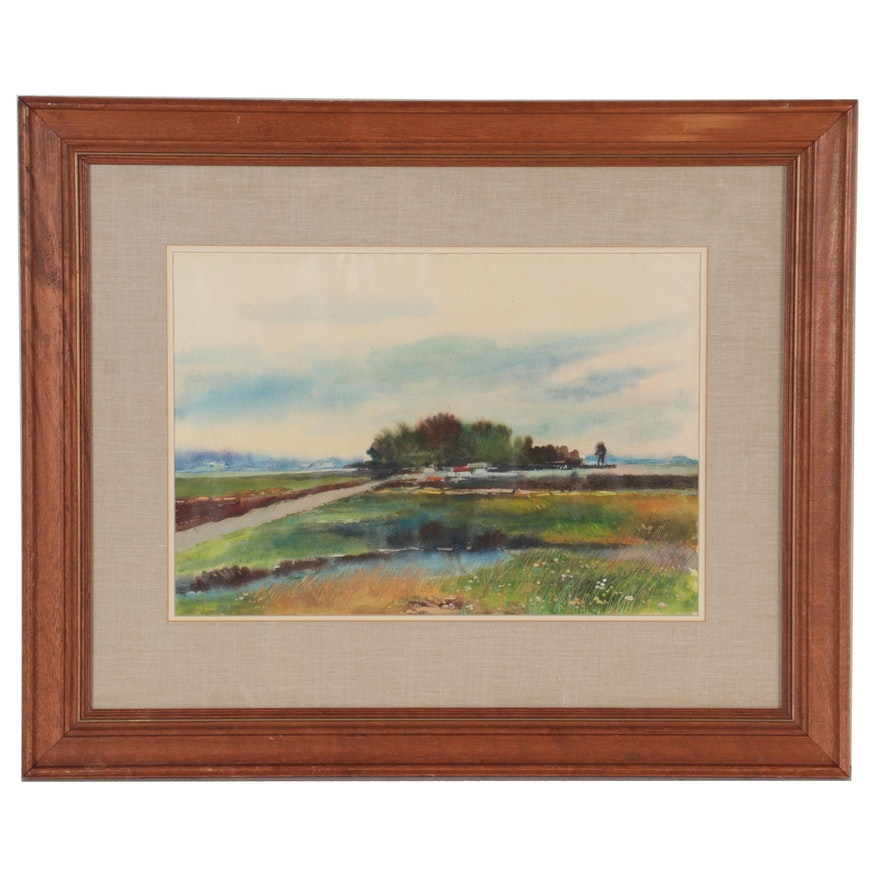 Landscape Watercolor and Gouache Painting of Field Alongside a Creek