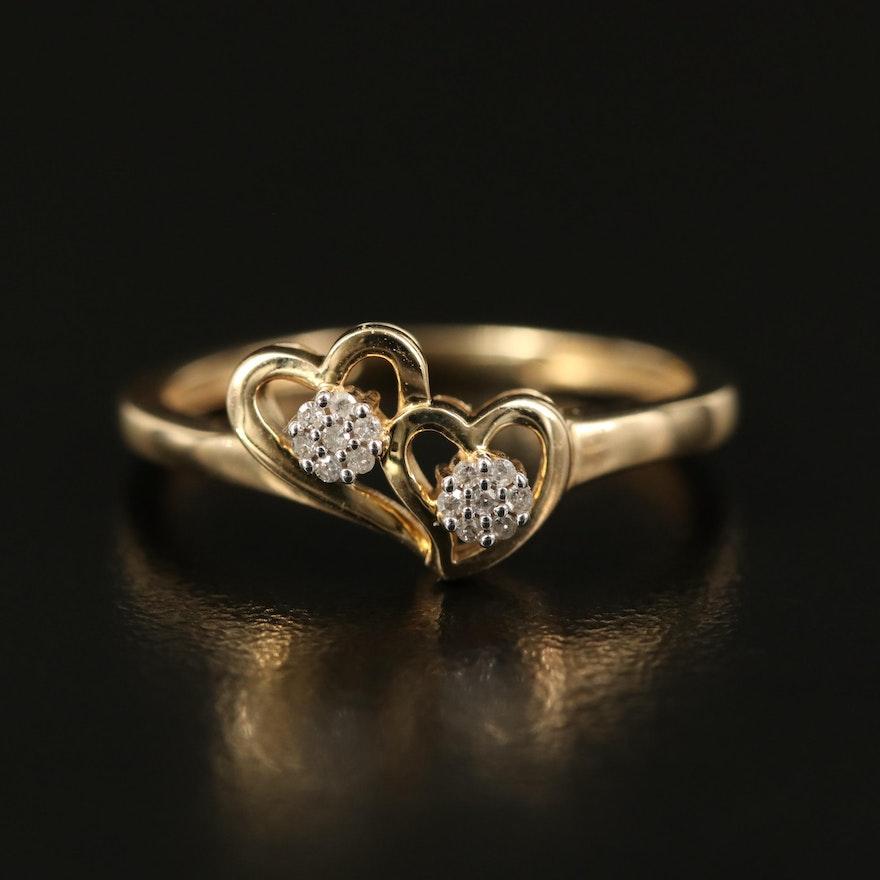 10K Diamond Two Hearts Ring