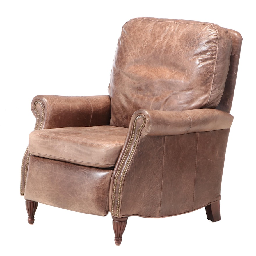 Bradington Young Brass-Tacked Brown Leather Recliner