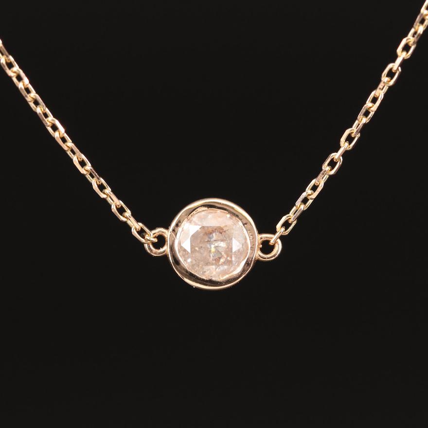 18K Diamond Solitaire Necklace