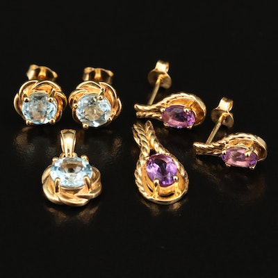 Sterling Topaz and Amethyst Earrings and Matching Pendants