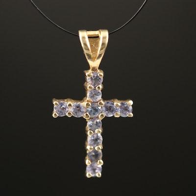 10K Tanzanite Cross Pendant