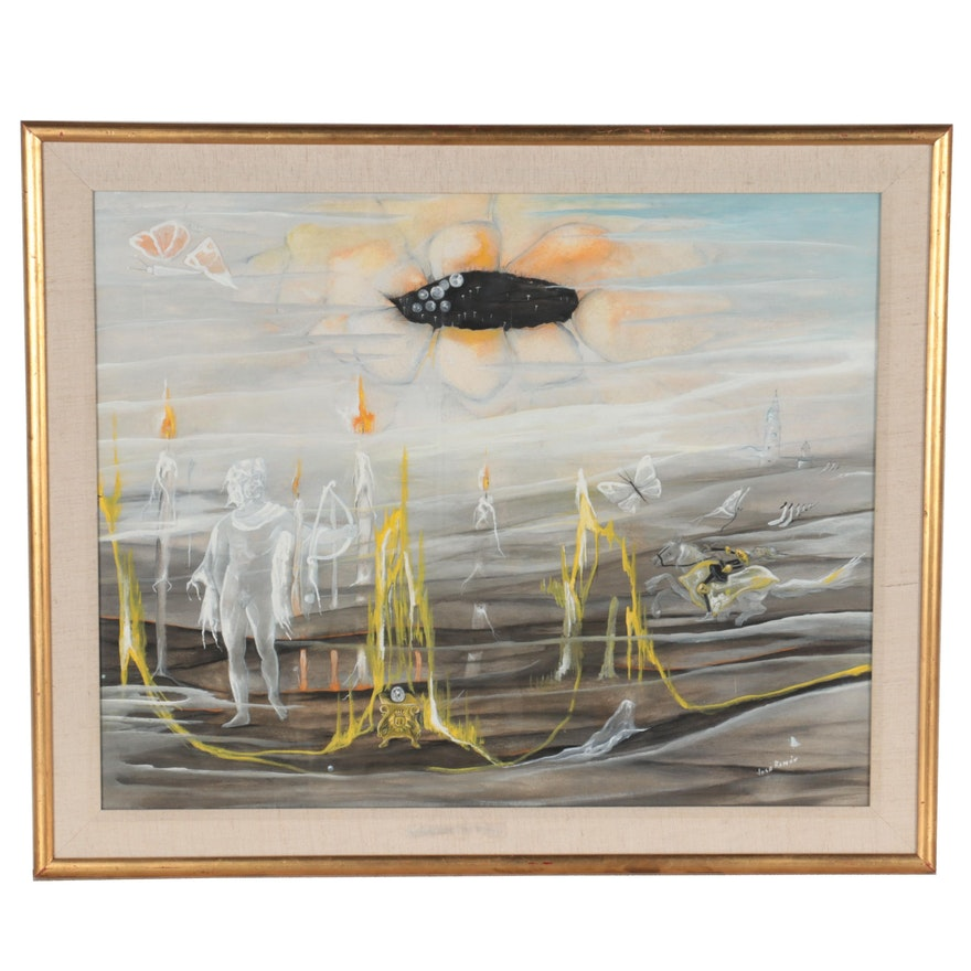 Jose Ramòn Surreal Style Gouache Painting, Late 20th Century
