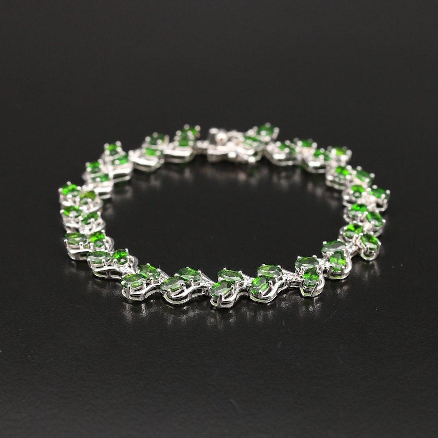 Sterling Diopside Link Bracelet