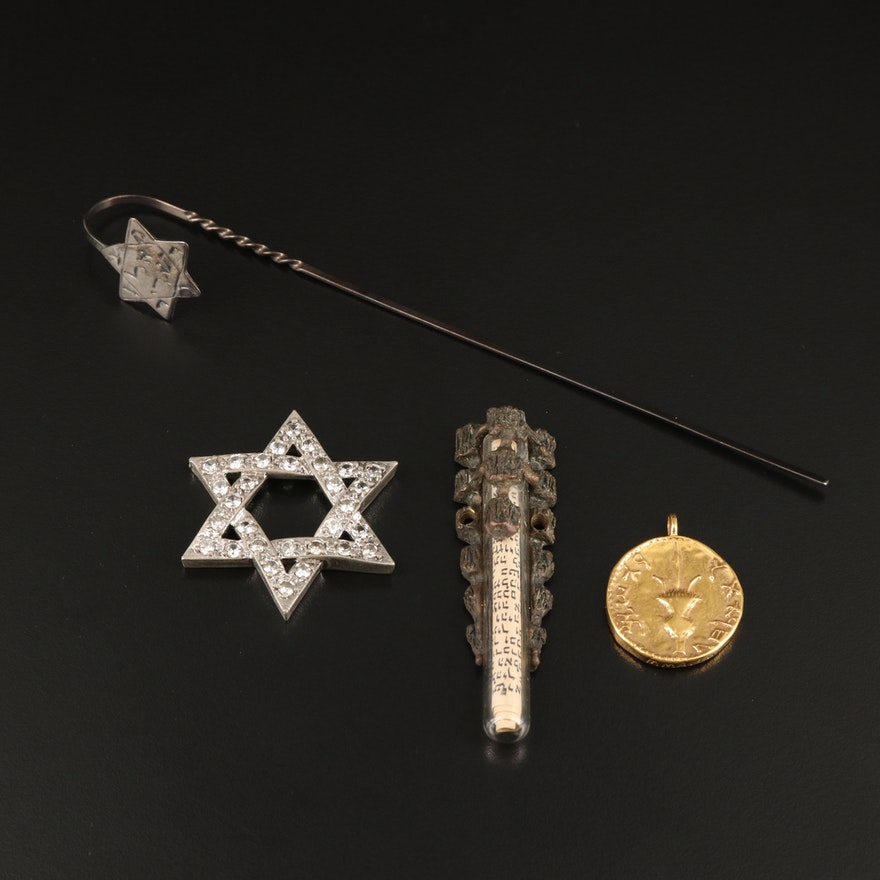 Judaic Pendants, Book Mark and Jewelry Component with Reproduction Temple Coin