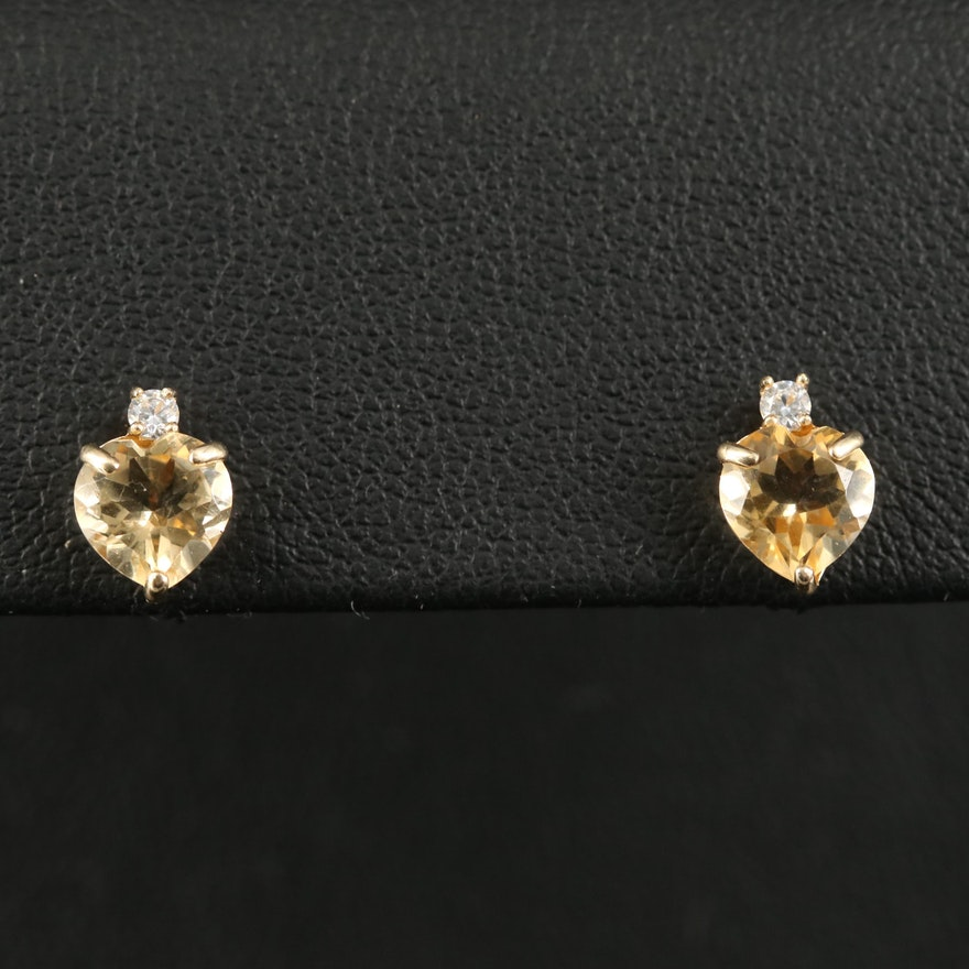 10K Citrine and Cubic Zirconia Heart Stud Earrings