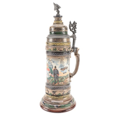 Josef Obermaier West German Stoneware and Pewter Stein, Mid to Late 20th C.