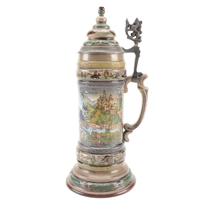 Josef Obermaier King Ludwig II Stoneware and Pewter Stein, Mid to Late 20th C.