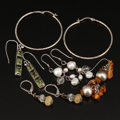 Drop and Hoop Earrings Including Silpada, Sterling, Quartz and Pearls