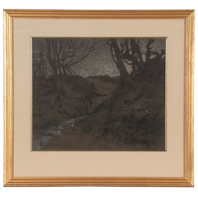 Landscape Pastel Drawing of Forest with Barren Trees, Mid-Late 20th Century