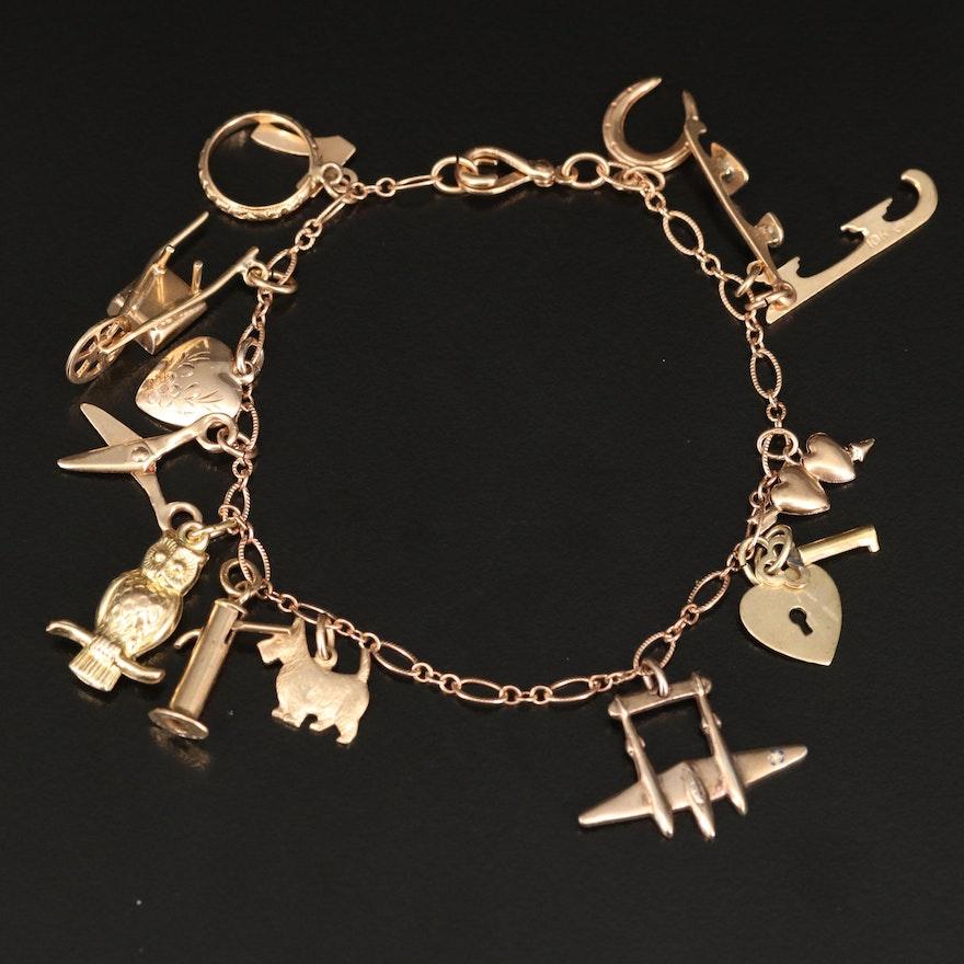 Vintage 10K Charm Bracelet