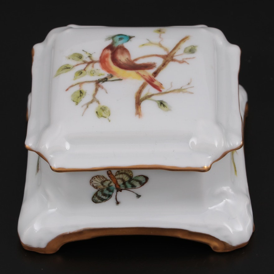 Hand-Painted Footed Porcelain Limoges Box