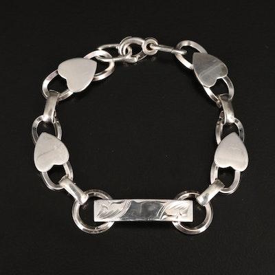 Vintage Sterling Silver Heart Link I.D. Bracelet