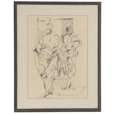 Charcoal Gestural Figure Drawing, circa 1965