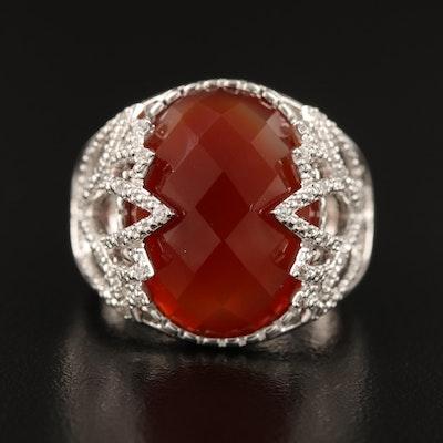 "Eva LaRue Sterling ""Lotus"" Agate and Zircon Ring"