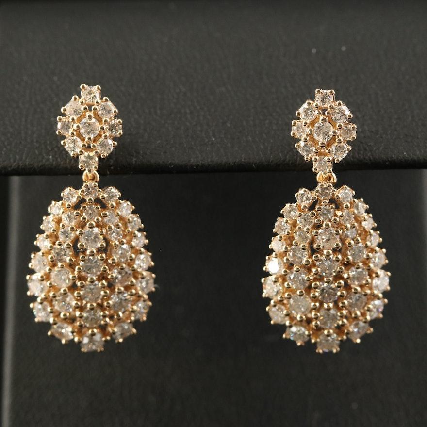 14K 3.29 CTW Diamond Cluster Drop Earrings