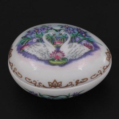"""Cadeaux D'amour """"Amour Fidèle"""" Egg Limoges Porcelain Box"""