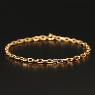 18K Cable Chain Bracelet with Alternating Twisted Links