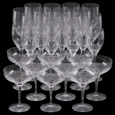 Clear Glass Water Goblets, Wine Glasses, and Coupe Glasses, Mid to Late 20th C.