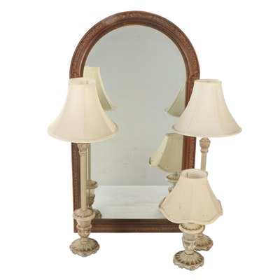 Arched Copper Gilt Mirror with Pair of Buffet Lamps and Matching Accent Lamp