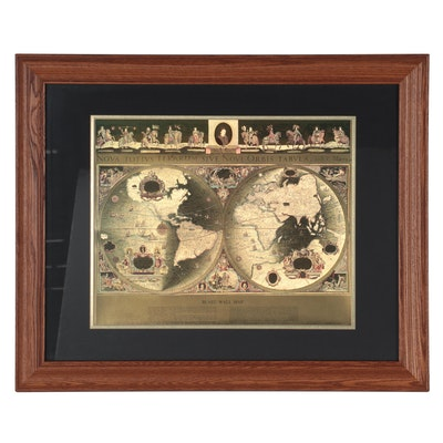 Offset Lithograph and Gold Foil World Map after Johannes Blaeu, Mid-20th Century