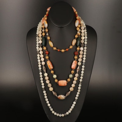 Bloodstone, Moonstone and Agate Necklaces Including Sterling