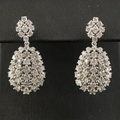 14K 3.31 CTW Diamond Cluster Drop Earrings