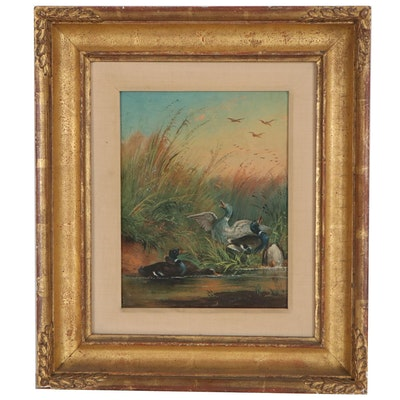 Oil Painting of Landscape with Ducks