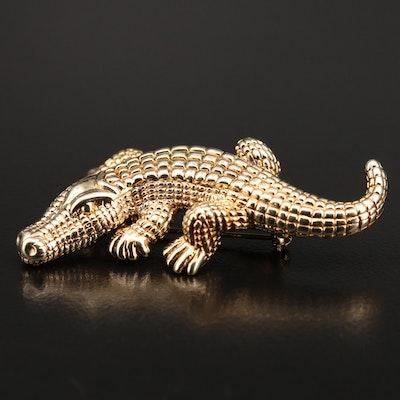 14K Figural Alligator Brooch