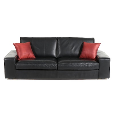 IKEA Contemporary Leather Upholstered Sofa