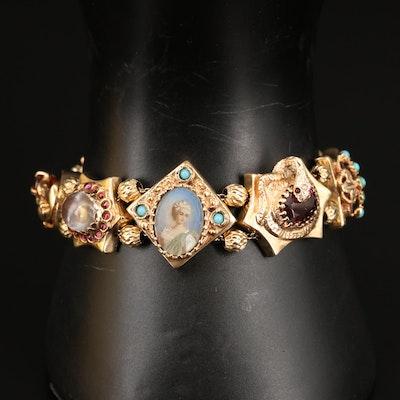 Vintage 14K Gemstone Slide Charm Bracelet