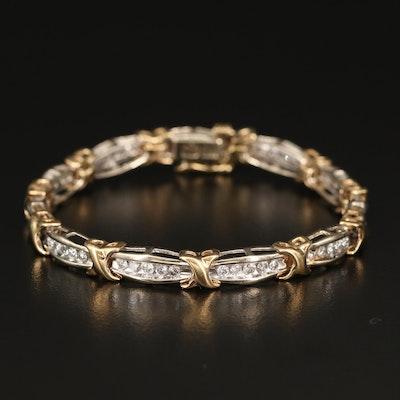 "10K 1.47 CTW Diamond Link Bracelet with ""X"" Pattern"