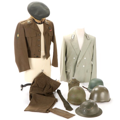 WWII and Post Era Military Helmets, Eisenhower Field Jacket, Cap, Canteen, More