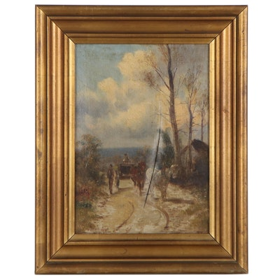 Landscape Oil Painting with Horse-Drawn Cart