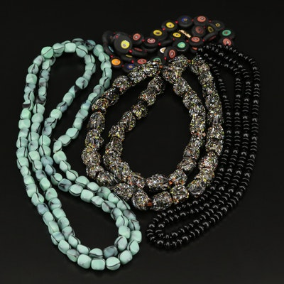 Selection of Necklaces Featuring Vintage German Glass and Millefiori Glass
